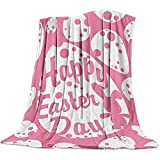 Moily Fayshow Getta Coperta Buon Giorno di Pasqua Coniglio Divertente E Uovo Rosa Bianco Flanella Fleece Morbido Caldo Fuzzy Peluche Coperta Coperta 130 X 150 Cm