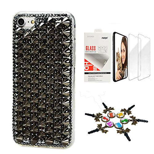 STENES Bling Case Compatible with iPhone 5/5S/SE - Stylish - 3D Handmade [Sparkle Series] Punk Rivet...