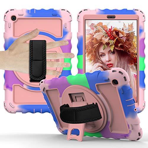Tab Case Caja protectora es for (2019) Caso Samsung Galaxy Tab A10.1 T510 / T515 duradero anti-gota con todo incluido protector con el soporte giratorio / correa de mano y la caja protectora de la cor