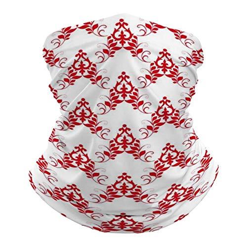 DKE&YMQ Pañuelo multifuncional unisex con patrón de bandana, elástico, transpirable, deportivo, con resistencia a los rayos UV, patrón de diseño de línea de estilo rojo y blanco