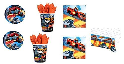 CDC – Kit n° 9 Goûter d'anniversaire Blaze et les Monster Machines – (32 assiettes, 32 gobelets, 40 serviettes, 1 nappe)