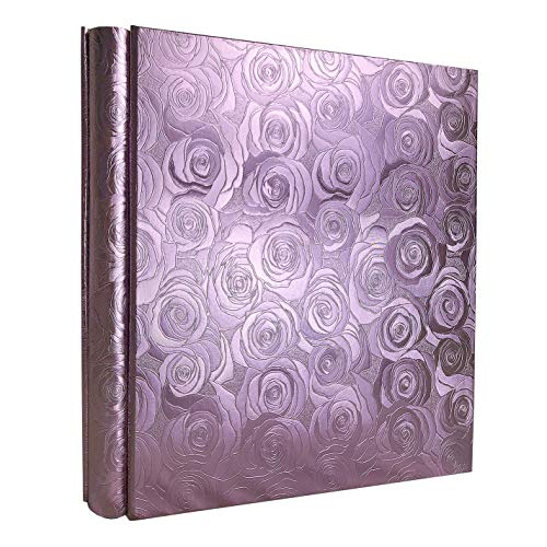 RECUTMS Large Photo Album 600 4x6 Photos 5 Pockets Per Page Memo Album Adventure Book Travel Record Birthday Gift for Couples (Purple Rose)
