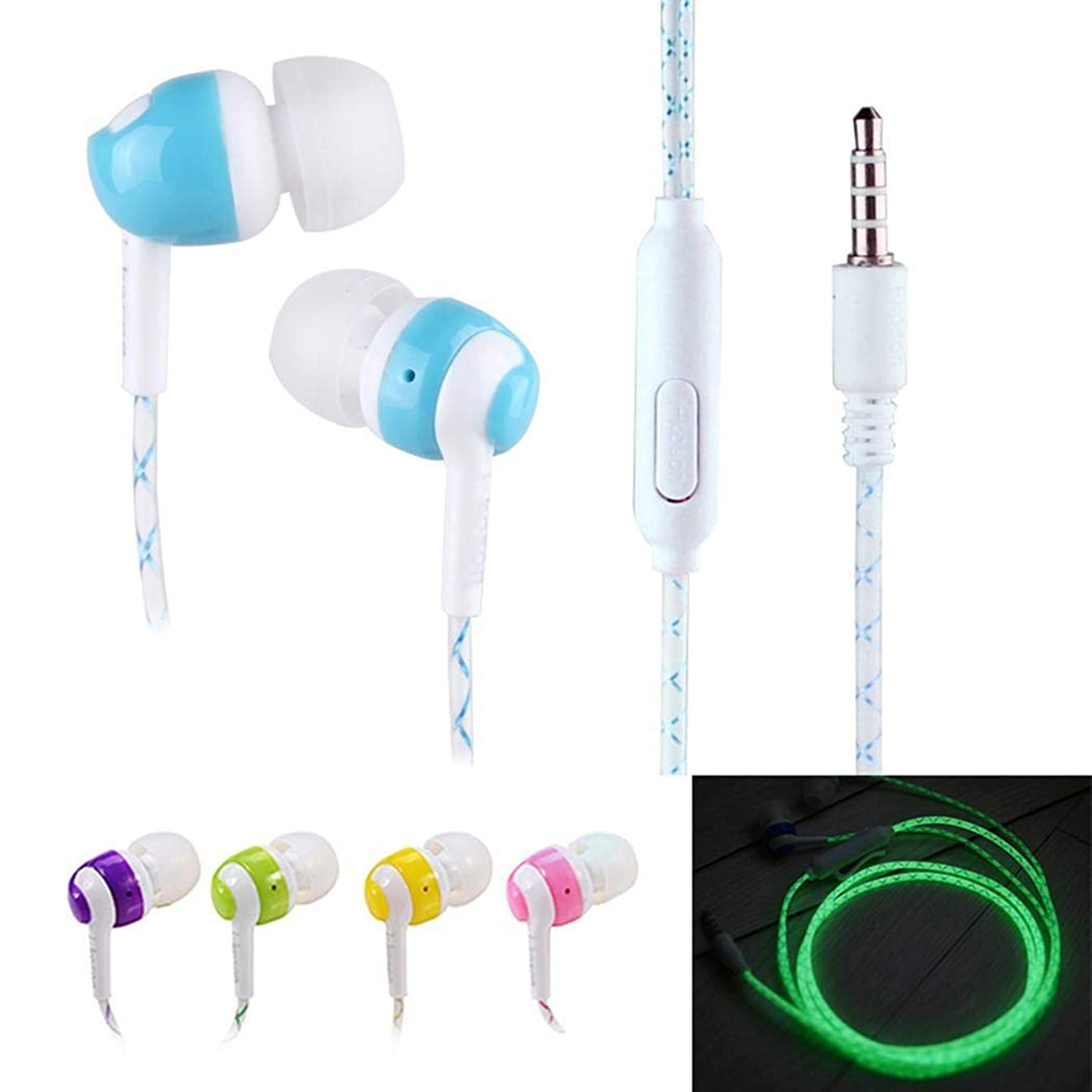 KOKOBUY Unisex General Stereo in-Ear Earphones with LED Light Wire Handsfree Wired Headset