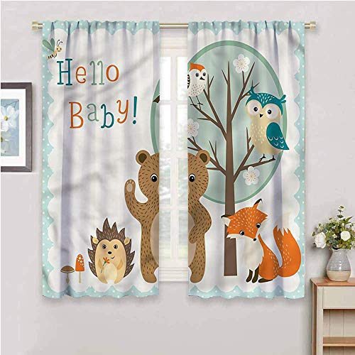 DIMICA Blackout curtain liner kids baby arrival forest animals Soundproof Shade W108 x L84 Inch