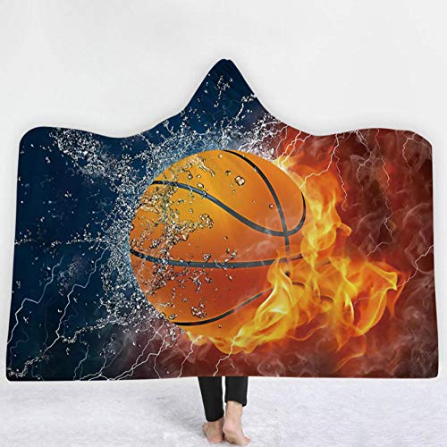 PANDAWDD Kuscheldecke Decken Wohndecke Brennender Basketball Herren Damen 3D Lustig Weihnachten Tragbare Decke Fleecedecke Kuscheldecke Tv-Decke Mit Kapuze Für Erwachsene 150X200 cm