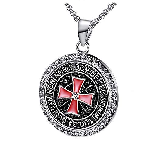 BOBIJOO JEWELRY - Anhänger Halskette-Templer Edelstahl Silber Gold Zirkonia Kreuz Rot, Nicht Nobis + Kette - Edelstahl