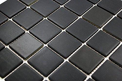 Porcelain Premium Quality 2x2 Black Square Matte Mosaic Tile, Great...