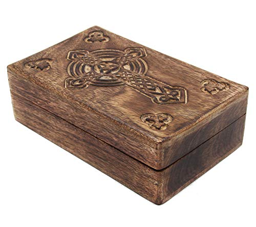 KayJayStyles Hand Carved Jewelry Trinket Keepsake Wooden Storage Box (Large, Celtic Cross)