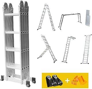 /Échelle T/élescopique 3.8m en Aluminium Multifonction Echelle Pliante Charge Max 330lbs Portative Bricolage Pliable Extensible Ladder 12.5ft 150kg