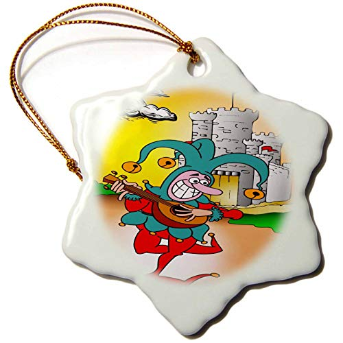 3dRose Snowflake Ornament - Image of Court Jester Plays Banjo With Castle - 3-inches (orn_281569_1)