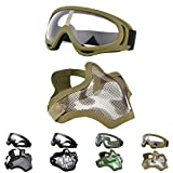 Outgeek Airsoft Half Face Mask Steel Mesh and Goggles Set for Halloween and Xmas (Khaki Set)