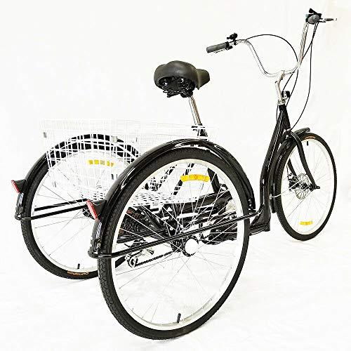 Triciclo de 3 ruedas de 6 velocidades para adultos de 26 pulgadas, con cesta de la compra, color negro