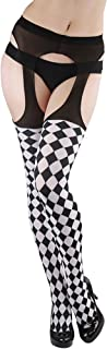Women's Harlequin Checkered Suspender Pantyhose Color: Black & White