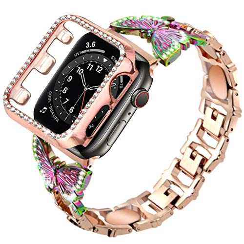 Estuche + pulsera para apple watch 6 se 44mm 40mm band series 5 4 Joyas Correa de acero inoxidable y estuche bling para iwatch 3 38 42mm