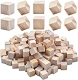 200 Piezas Cubos de Madera Natural Bloques Cuadrados Square Sin Acabar para Bricolaje Manualiadades Artes Números Alfabetos,10 * 10 * 10mm