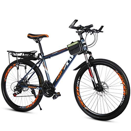 GRXXX Bicicleta Velocidad Bicicleta de montaña Frenos de Doble Disco Estudiante Adulto Hombres y Mujeres 21 Velocidad 26 Pulgadas,Ink Blue colour-26 Inches