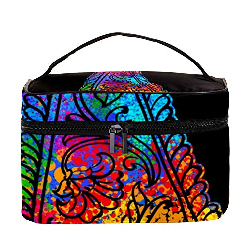 TIZORAX Bright Element Paisley Mehndi Cosmetic Bag Travel Toiletry Case Large Makeup Organizer Box