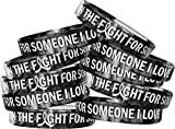 in The Fight for Someone I Love Silicone Wristband Bracelet 10-Pack (Black, White)