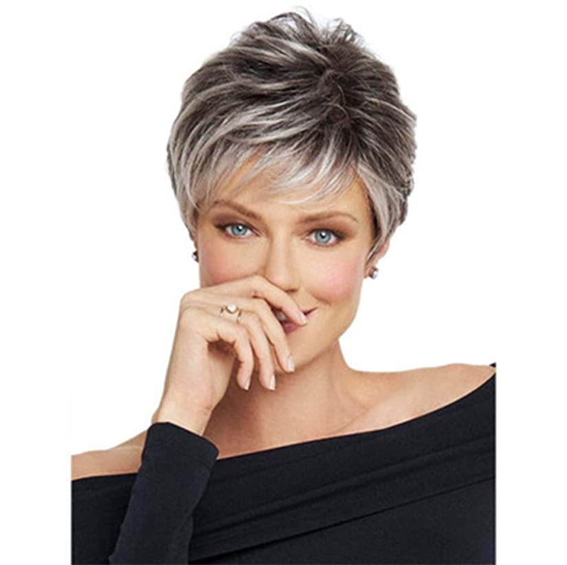 売る降ろす害ブラジル人毛ウィッグ黒グラデーショングレー28 cm用耐熱ウィッグ女性合成