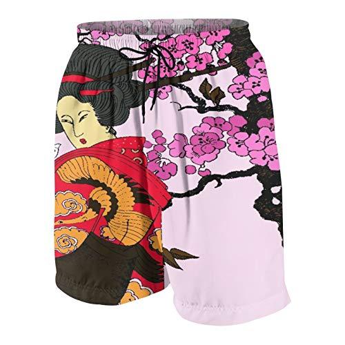 SUHOM De Los Hombres Casual Pantalones Cortos,Japón, Geisha, Mujer,Secado Rápido Traje de Baño Playa Ropa de Deporte con Forro de Malla