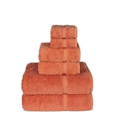 TURKUOISE TURKISH TOWEL 6 Piece Turkish Luxury Turkish Cotton Towel Set - Eco Friendly, 2 Bath Towels, 2 Hand Towels, 2 Wash Clothes by Turkish Towel (Coral, Set of 6)