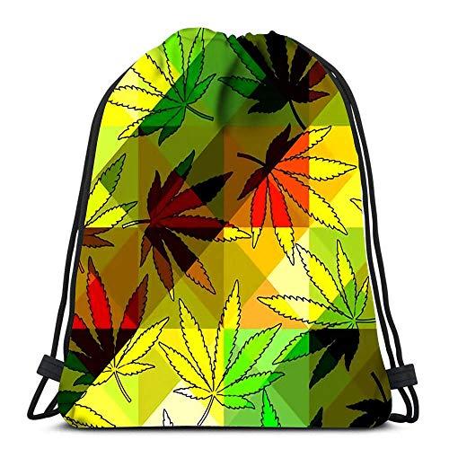 Unisex Drawstring Bags,From Hemp Leaves And Geometric Sport Gym Bag Men & Women Drawstring Backpack Foldable Tote Sack Cinch Bag For Running School Climbing
