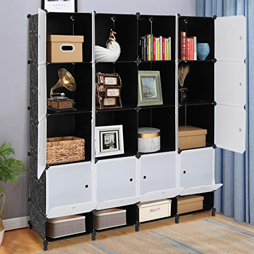 VINGLI Cube Storage Organizer Plastic Closet Cabinet DIY Plastic Modular Book Shelf Unit Cube Shelves with Doors and Hanging Rods16 Cubes