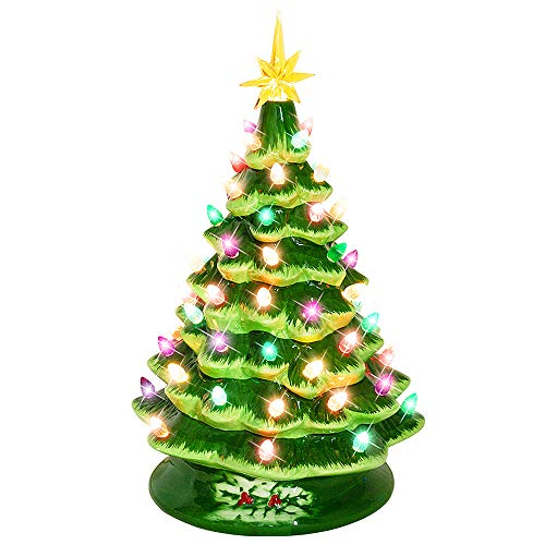 Melunar Ceramic Christmas Tree, 15 Inches, Lighted Vintage Ceramic Tree with Multicolored Lights, Tabletop Christmas...