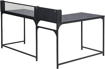 Escritorio esquinero para ordenador, ideal para el hogar, oficina, escritorio en forma de L, tablero de densidad media, mesa estable de 165 x 110 x 75 – 95 cm Negro
