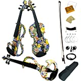 Aliyes Wood Electric Violin Full Size 4/4 Intermediate-A Electric Silent Colorful flowers Violin Kit With Case,Bow,Rosin,headphones,Shoulder Rest,Strings(DSZA-1101)