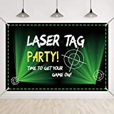 Bellimas Black and Green Laser Tag Backdrop for Party Target Time On Game Background Gamer Birthday Party Night Neon Battle Banner with Copper Grommets