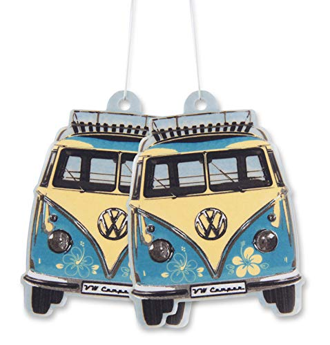 BRISA VW Collection - Volkswagen T1 Bulli Bus Luft-Erfrischer, Duft-Spender, Duft-Baum fürs Auto/KFZ (Piña Colada/Türkis/2ER Set)
