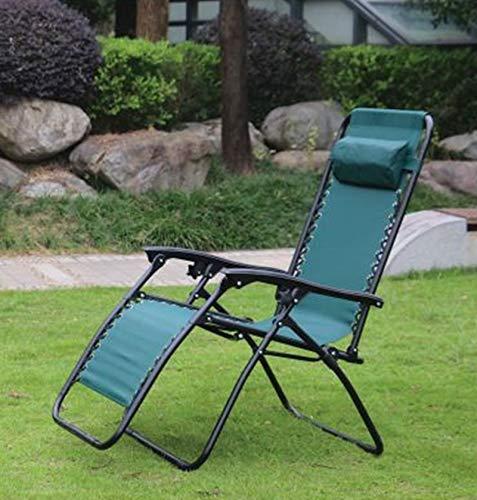 Hyfive Tumbona reclinable plegable para jardín, playa, patio, camping, gravedad cero, 1 silla, verde