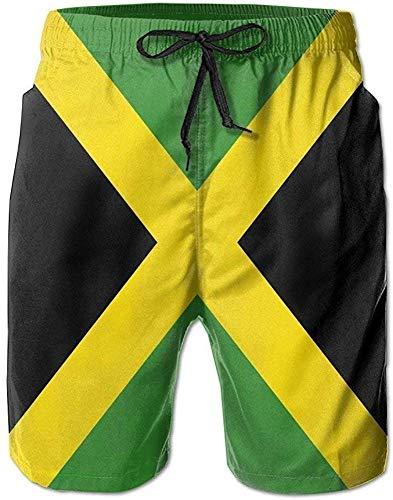 zengdou Badeshorts für Herren,Herren-Badehose Jamaica Flag Men's Swim Boardshorts Quick-Dry Surf Beach Shorts Casual Sport Trunks Comfortable Breathable