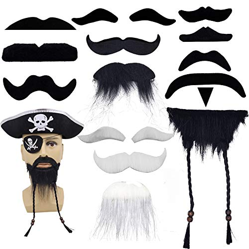 Cosplay Fake Beards - 9PCS Pirate Beards Self Adhesive Funny Costume Party Kid Male Man Christmas Beard Facial Hair Disguise Game Mustache for Costume Party Cosplay Supplies Black