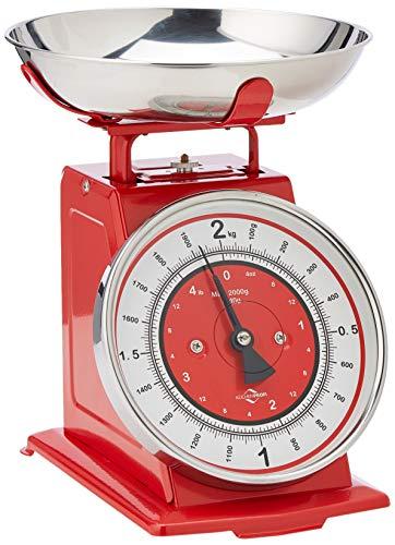 Küchenprofi Waage Nostalgie rot Küchenwaage, Edelstahl, 22 x 22 x 25.5 cm, 6-Einheiten