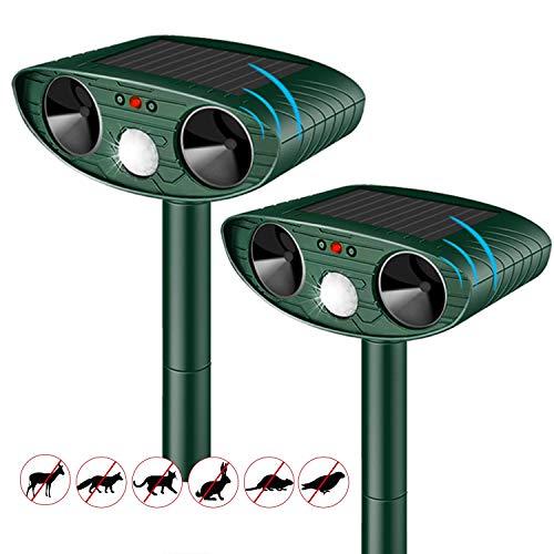 Cat Repellent Ultrasonic Solar Powered Waterproof Animal Deterrents for Gardens Motion Activated Sensor Pest Repeller for Farm Dogs Fox Birds etc (Upgraded)