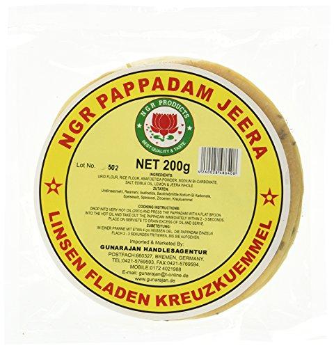 Ngr Pappadam, Linsenmehlfladen, mit Kreuzkümmel, 200g (1 x 200 g Packung)