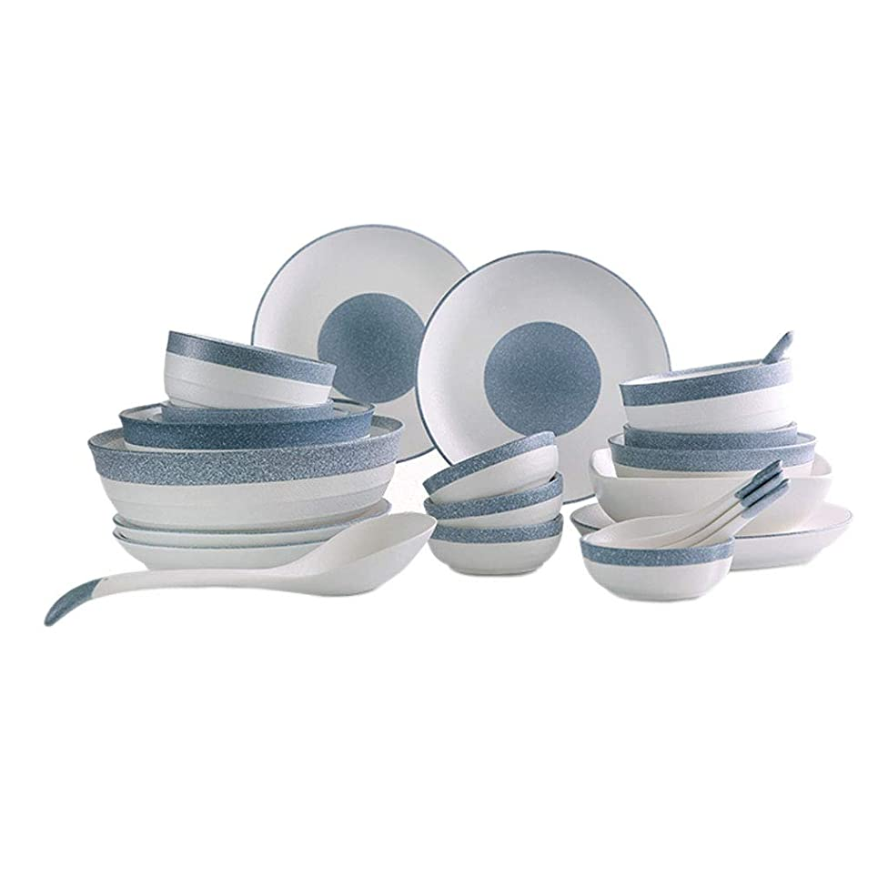 ZHAO YING Stone Snowflake Glazed Surface Cutlery Set Ceramics Plate Job 23 Heads Cutlery Set Bowl Plate (Color : White)