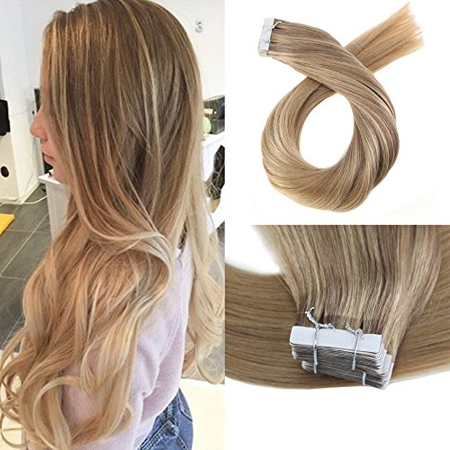 Moresoo 14 Inch Full Head Set Seamless Skin Weft Tape in Extensions Dip Dye Color #10 Brown Highlighted with #16 Gloden...
