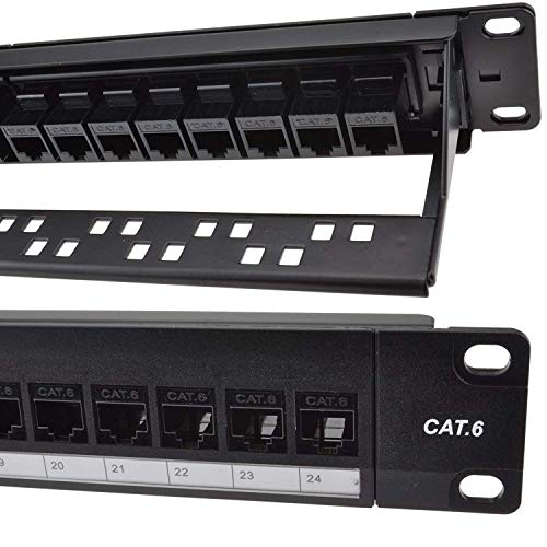Detroit Packing Co. 24 Port CAT6 RJ45 Through Coupler Patch Panel with...