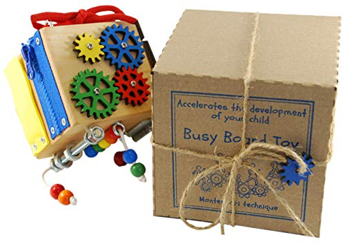 BusyBoardToy Wooden Developmental Toy for Children - Sensory Playing Cube for Your Child - Montessori Principles for Natural Learning – Developmental Toy for Traveling 2