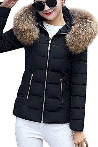 YMING Frauen Winter Kurz Mantel Gefüttert Skijacke Parka Warm Steppjacke Skijacke mit Kapuze Schwarz-B XL