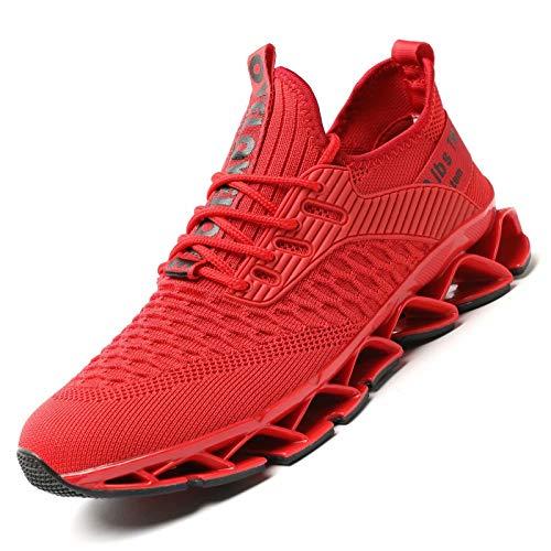 Wrezatro Scarpe da corsa da uomo, traspiranti, antiscivolo, alla moda, per camminata e tennis, Rosso (Colore: rosso), 40 EU