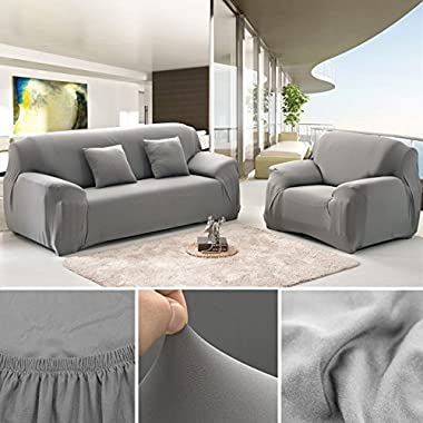 ANJUREN Polyester Spandex Fabric 1-Piece Stretch Slipcover for Chair Loveseat Sofa Without Pillow (Sofa, Gray)