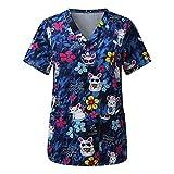 VEMOW Tops de Mujer Uniforme de Trabajo Estampado Camisa de Manga Corta Impresión de Dibujos Animados Animal Top con Cuello en V, Ropa de Trabajo Enfermera Médicas Bolsillo Belleza Ropa