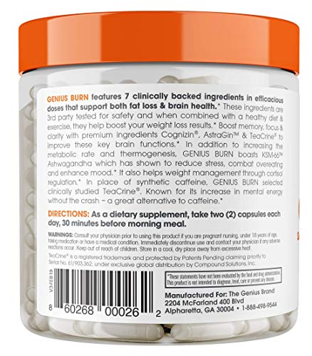 Genius Fat Burner - Thermogenic Weight Loss & Nootropic Focus Supplement - Natural Metabolism & Energy Booster for Men & Women | Thyroid Support and Appetite Suppressant w/ Gymnema Sylvestre, 60 Pills 5