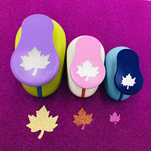 Worldoor Set of 3PCS (5/8 inch+1 inch+1.5 inch) Craft Punch Set Round Paper Punch Punch Craft Scrapbooking Eva Punches (Maple Leaf)