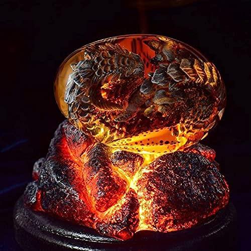 Huevo de dragón de Lava: Huevo de dragón Transparente de Cristal de ensueño, dragón de Bolsillo de Fuego, Adornos de Escritorio de Escultura de Resina de dragón de cría Hechos a Mano (Rojo)