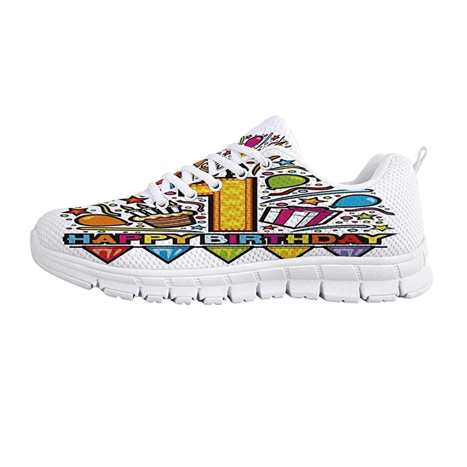 1st Birthday Decorations Comfortable Sports Shoes,Baby Party Celebration with Colorful Dots and Flowers Image for Men & Boys,US Size 6.5